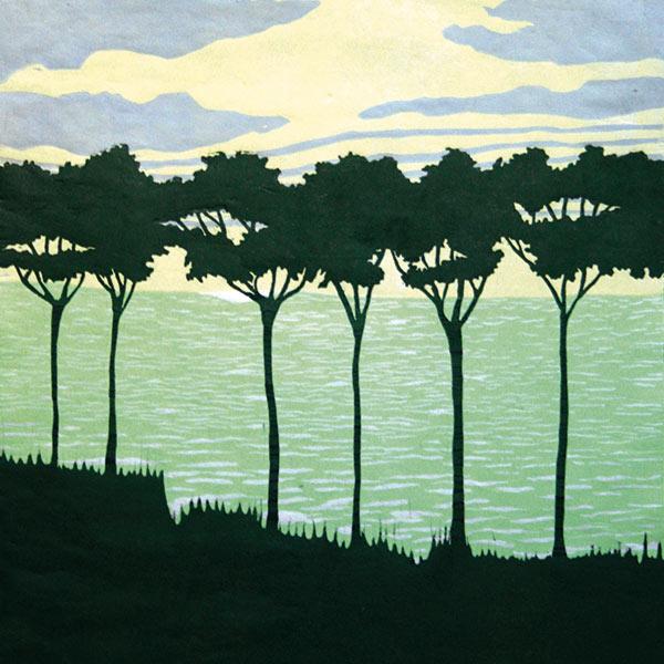 Dominique Le Page (Quimper, 1945) Rideau d'arbres III • 2010 Gravure sur bois imprimée en couleur H. 50; L. 40 cm • Collection particulière