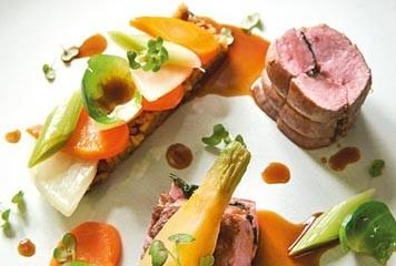 Recette : Noisette d'agneau cuisinée «sur un air d'orient» et légumes du potager du château de Kergroadez