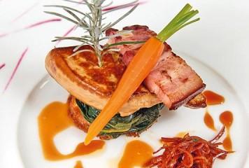 Recette : Kouign amann et foie gras poêlé de canard, tombée d'épinard aux senteurs de bigarade